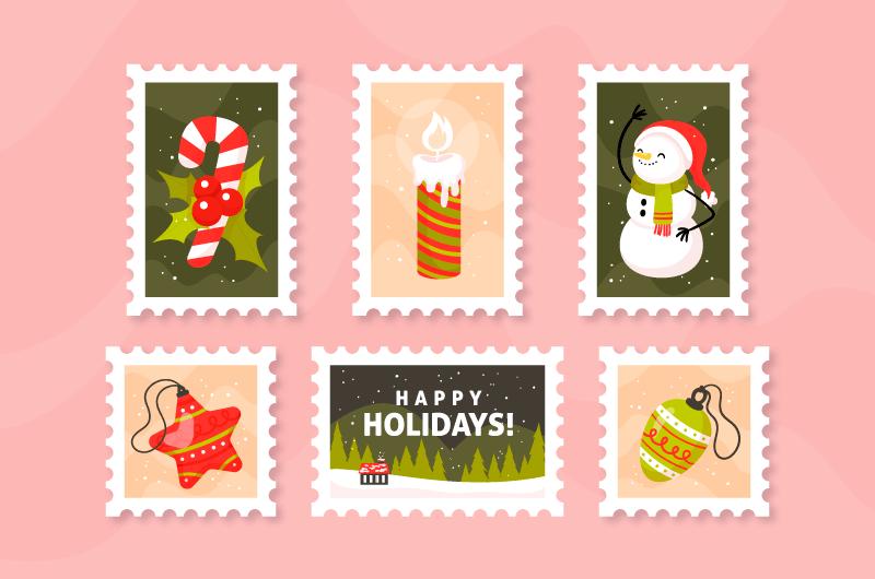 五张手绘风格的圣诞邮票矢量素材(AI/EPS/免扣PNG)
