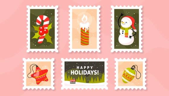 五张手绘风格的圣诞邮票矢量素材(AI/EPS/PNG)