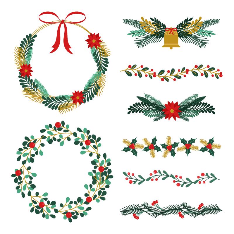 圣诞节花环花卉装饰矢量素材(AI/EPS/免扣PNG)