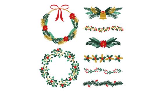 圣诞节花环花卉装饰矢量素材(AI/EPS/PNG)