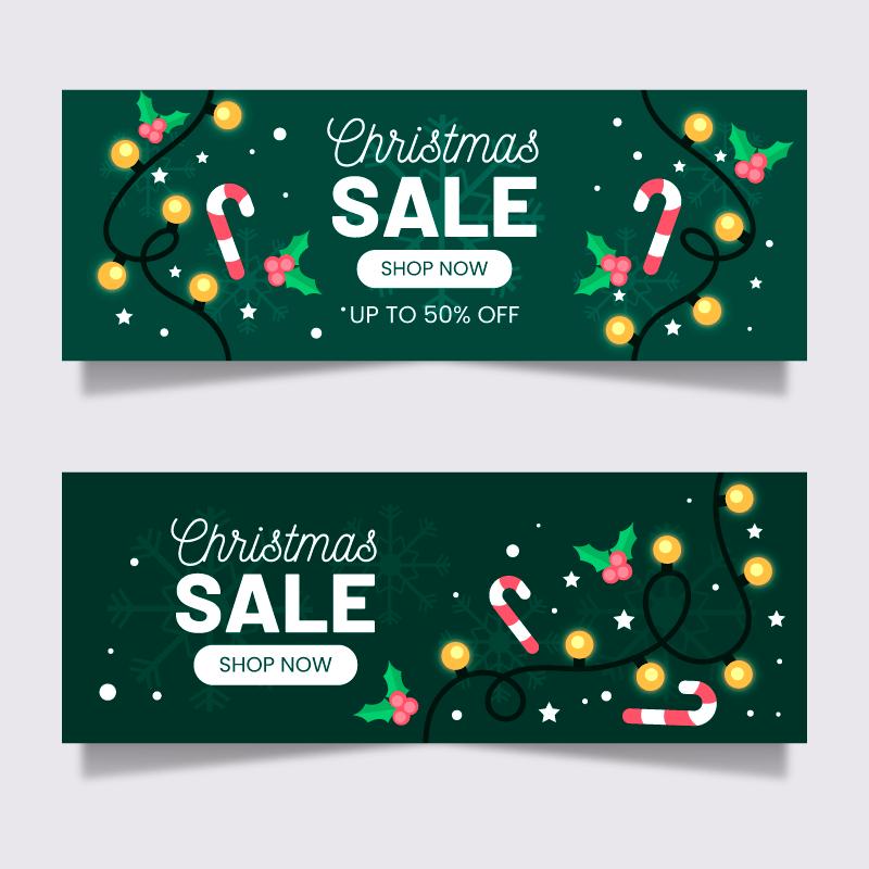 两幅绿色的圣诞节促销banner矢量素材(AI/EPS)