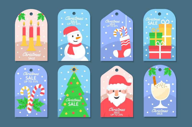 八个可爱的圣诞促销标签矢量素材(AI/EPS/免扣PNG)
