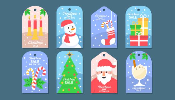 八个可爱的圣诞促销标签矢量素材(AI/EPS/PNG)