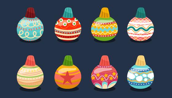 12个不同的圣诞球矢量素材(EPS)