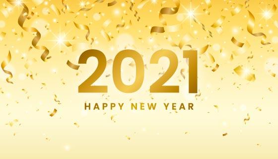 金色纸屑设计2021新年快乐背景矢量素材(AI/EPS)