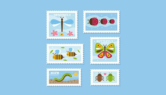 昆虫图标邮票矢量素材(EPS/AI)