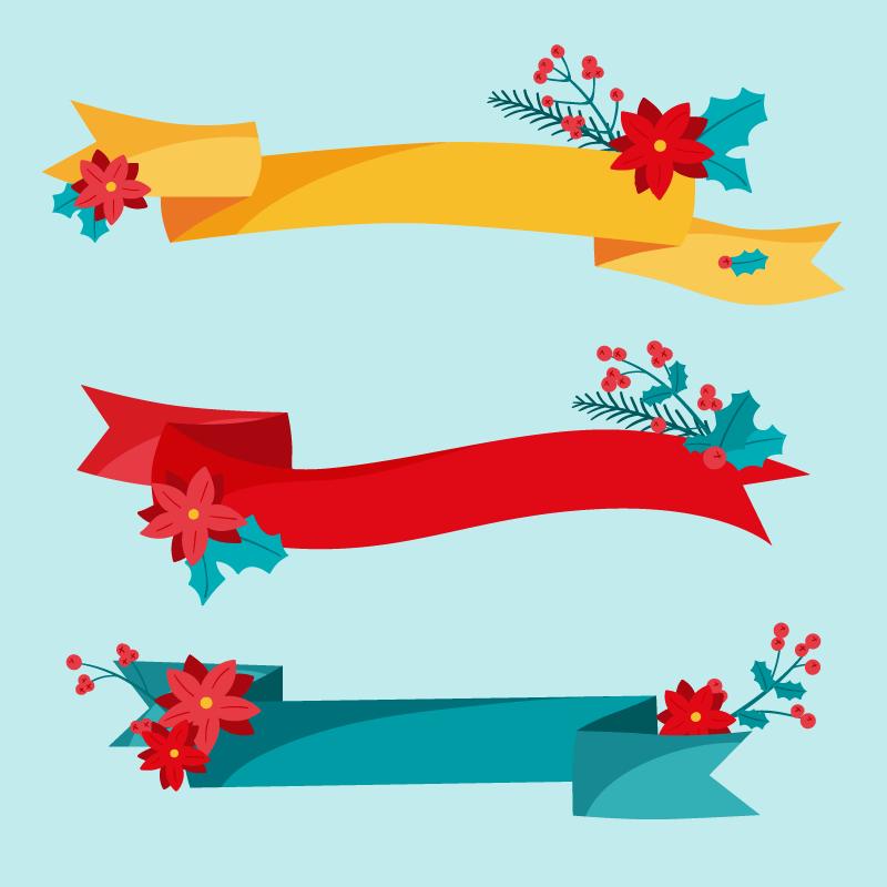 三条不同颜色的圣诞彩带矢量素材(AI/EPS/免扣PNG)