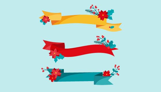 三条不同颜色的圣诞彩带矢量素材(AI/EPS/PNG)