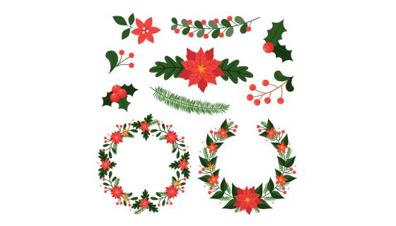漂亮的圣诞花环和花卉装饰矢量素材(AI/EPS/PNG)