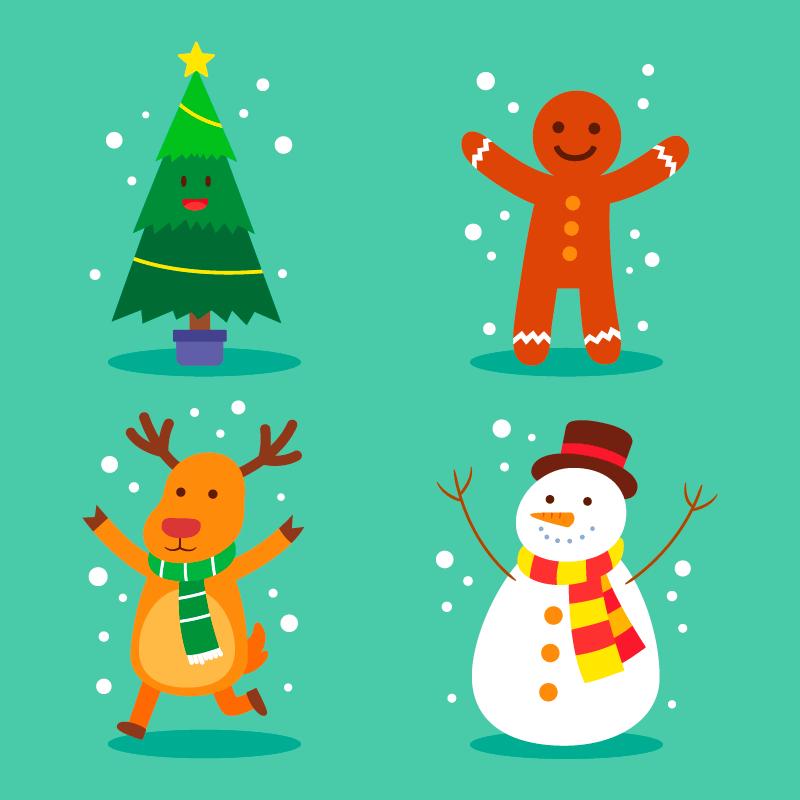 四个可爱的圣诞人物矢量素材(AI/EPS/免扣PNG)