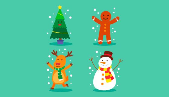 四个可爱的圣诞人物矢量素材(AI/EPS/PNG)