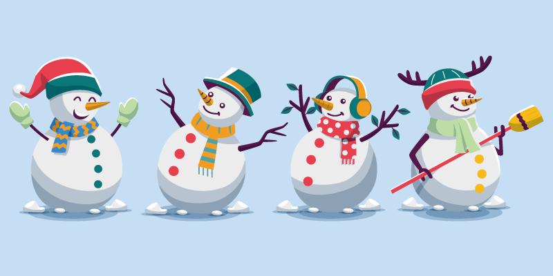 四个扁平风格的可爱雪人矢量素材(AI/EPS/免扣PNG)