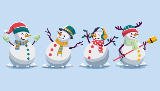 四个扁平风格的可爱雪人矢量素材(AI/EPS/PNG)