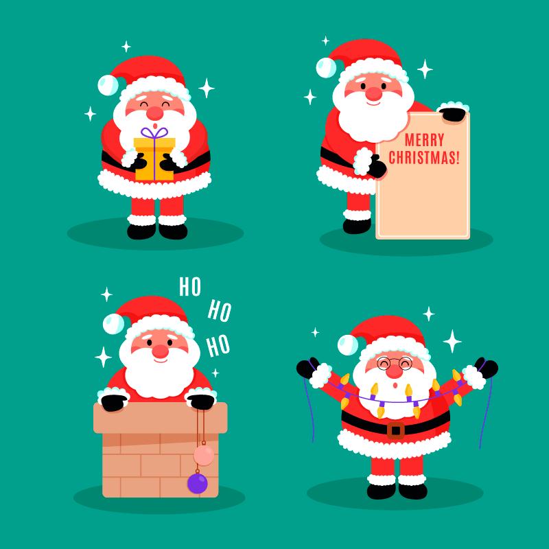 四个可爱的圣诞老人矢量素材(AI/EPS/免扣PNG)