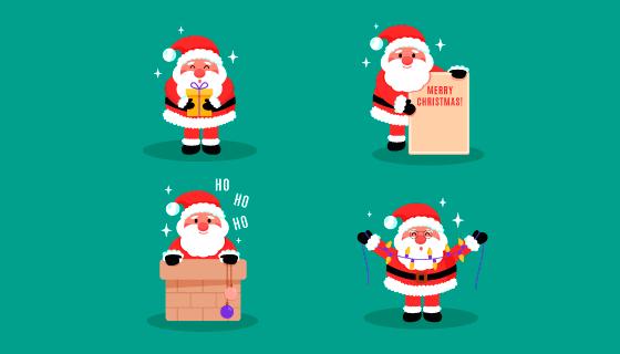 四个可爱的圣诞老人矢量素材(AI/EPS/PNG)