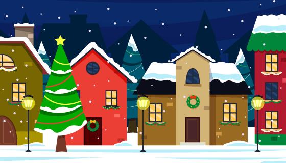 扁平风格的圣诞小镇矢量素材(AI/EPS)