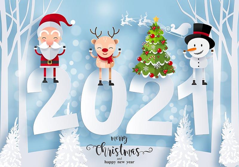 洁白的圣诞节背景和2021新年快乐背景矢量素材(EPS)