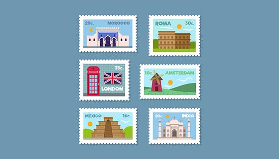 城市建筑邮票矢量素材(EPS/AI)