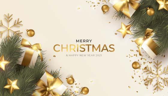 金色奢侈的圣诞节背景矢量素材(EPS)