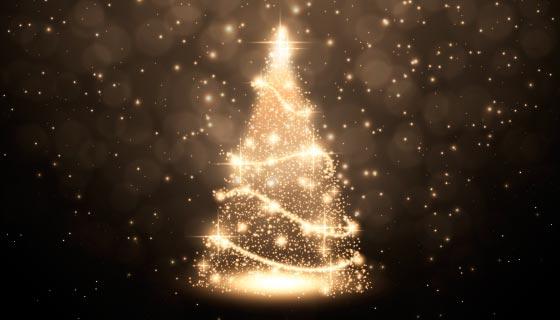 金色抽象的圣诞树矢量素材(AI/EPS)