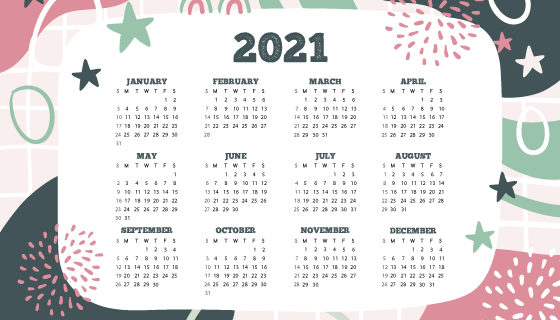 手绘风格2021年日历矢量素材(AI/EPS)