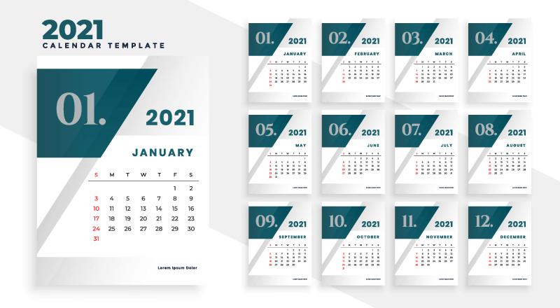 现代几何风格2021年日历矢量素材(EPS)
