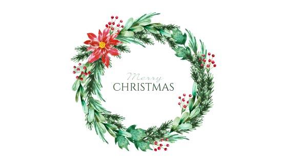 水彩风格圣诞花环矢量素材(AI/EPS)