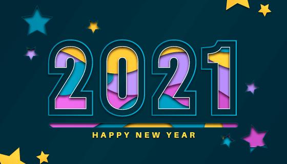 抽象设计的2021新年快乐背景矢量素材(AI/EPS)
