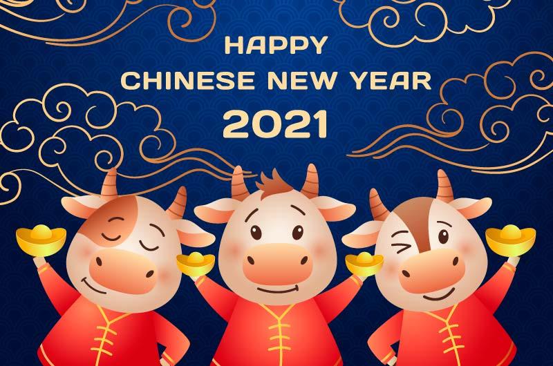 拿着元宝的小牛2021春节快乐矢量素材(AI/EPS)