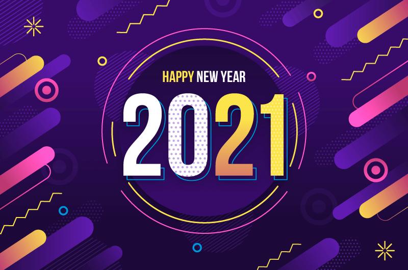 多彩抽象设计20201新年快乐背景矢量素材(AI/EPS)