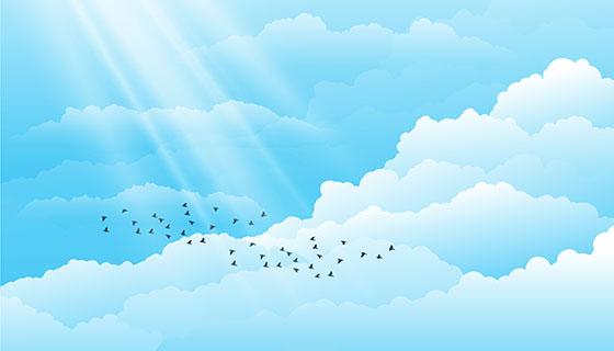 飞翔在天空白云中的鸟矢量素材(eps/ai)