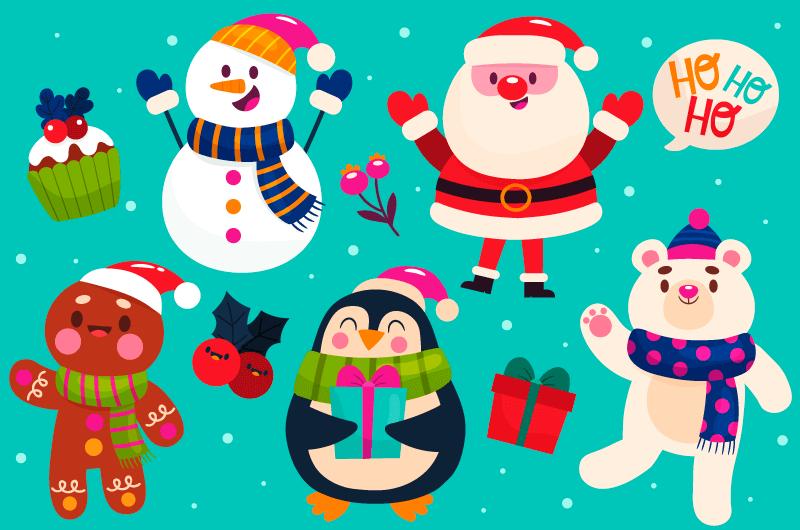 手绘风格可爱的圣诞人物矢量素材(AI/EPS/免扣PNG)