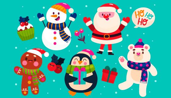 手绘风格可爱的圣诞人物矢量素材(AI/EPS/PNG)