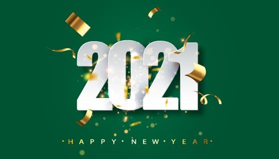 金色纸屑2021新年快乐背景矢量素材(EPS)