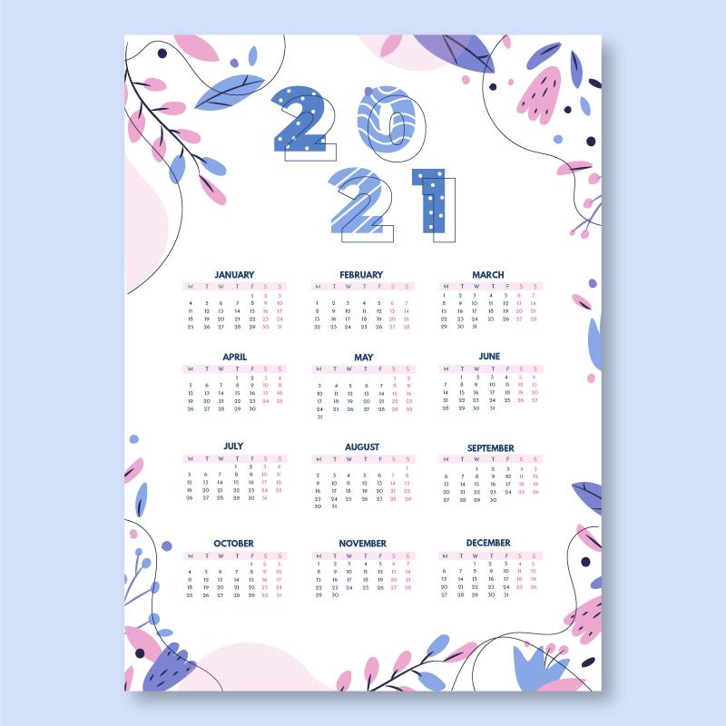 手绘叶子设计2021年日历矢量素材(AI/EPS)