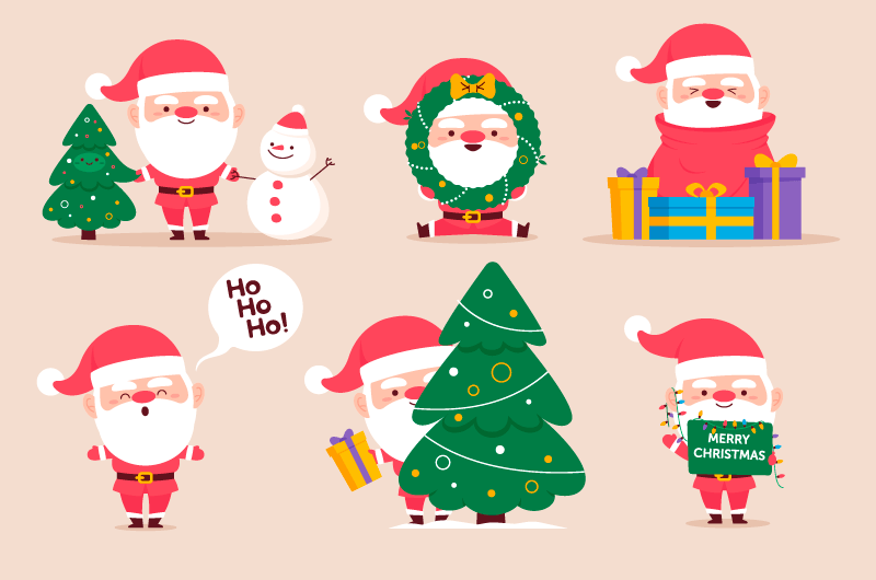 六个可爱的圣诞老人矢量素材(AI/EPS/免扣PNG)