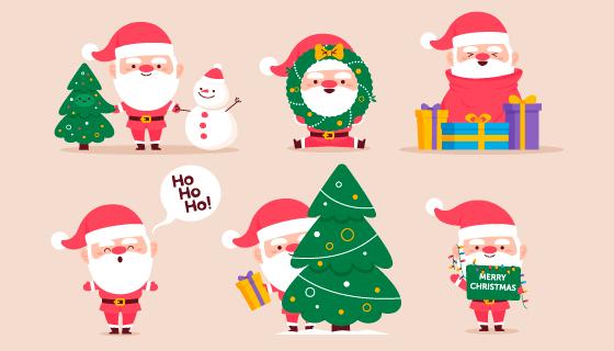 六个可爱的圣诞老人矢量素材(AI/EPS/PNG)