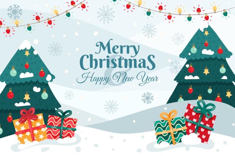 漂亮的圣诞树设计圣诞节背景矢量素材(AI/EPS)