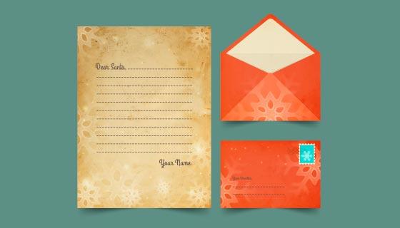 复古风格的圣诞节信封信纸矢量素材(AI/EPS)