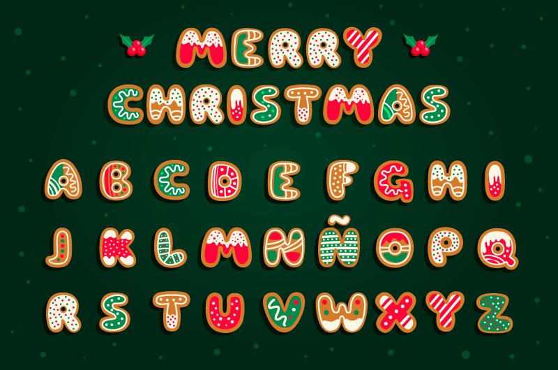 姜饼风格圣诞英文字母矢量素材(AI/EPS/免扣PNG)