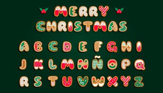 姜饼风格圣诞英文字母矢量素材(AI/EPS/PNG)