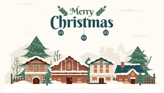 复古风格的圣诞小镇矢量素材(AI/EPS)