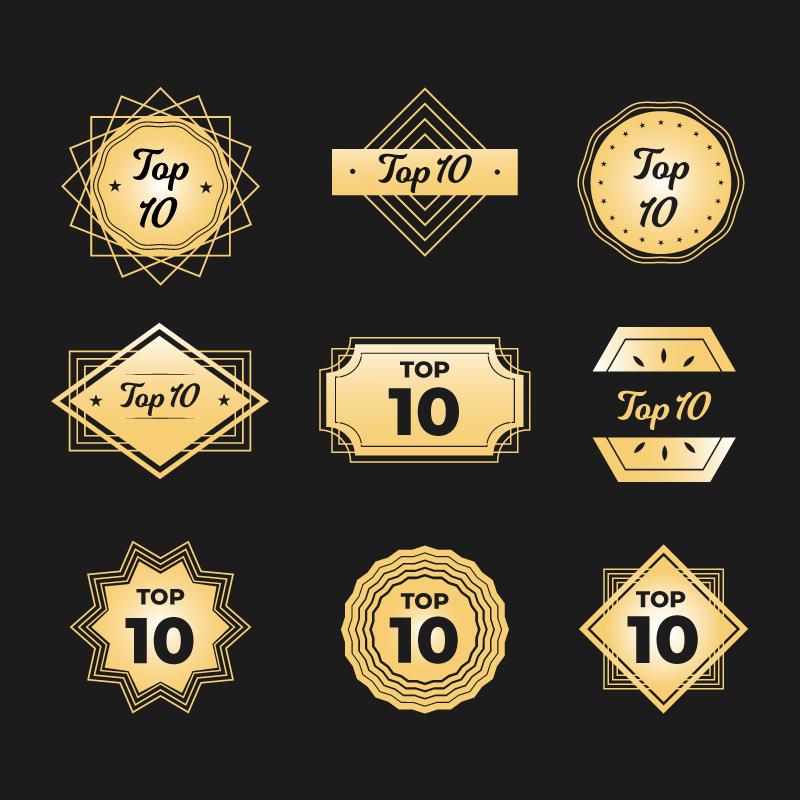 九个金色的Top 10徽章矢量素材(AI/EPS/免扣PNG)