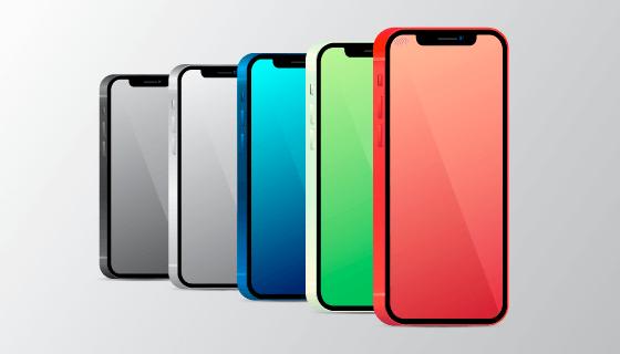 五种不同颜色的iPhone12矢量素材(AI/EPS)