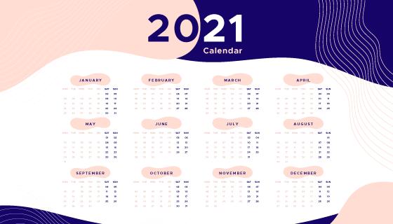 多彩流体设计2021年日历矢量素材(AI/EPS)