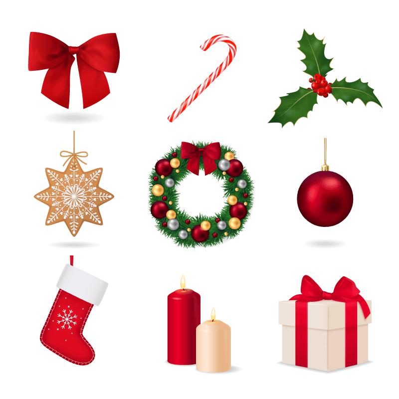 九个逼真的圣诞节元素矢量素材(EPS)