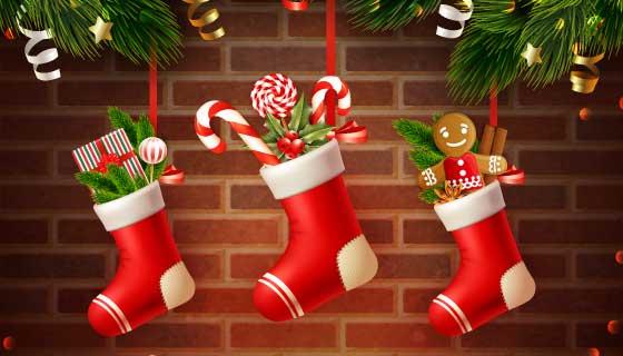 逼真的圣诞袜设计圣诞节背景矢量素材(EPS)
