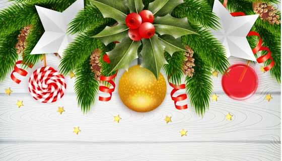 逼真的圣诞节背景矢量素材(EPS)