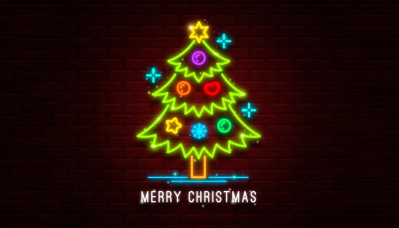 漂亮的霓虹灯圣诞树矢量素材(AI/EPS)