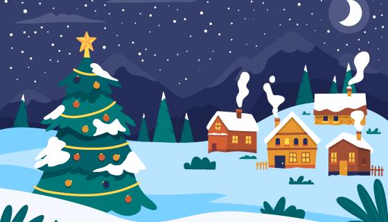 手绘风格的圣诞小镇矢量素材(AI/EPS)